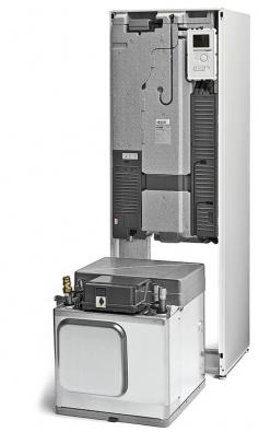 Pohled do útrob tepelného čerpadla NIBE F1245. Jedná se očerpadla systému země/voda, voda/voda pro vytápění aohřev vody ve vestavěném zásobníku oobjemu 180 litrů (NIBE)