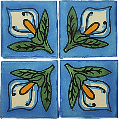 Ruční mexické obklady - florální vzor