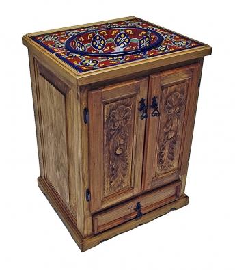 Ručně vyřezávaná skříňka skeramickým umyvadlem arohovými dlaždicemi.
