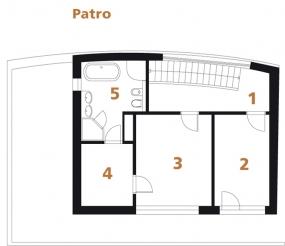 Půdorys patra: 1) hala 2, 3) ložnice 4) šatna 5) koupelna + WC.