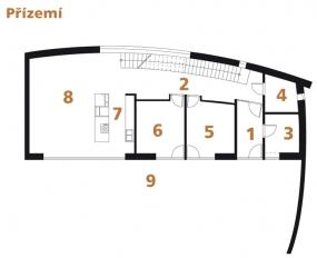 Půdorys přízemí: 1) zádveří 2) hala 3) technická místnost 4) koupelna + WC 5, 6) pokoj 7) kuchyň 8) obývací pokoj 9) terasa.