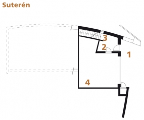 Půdorys suterénu: 1) závětří 2) vstup 3) schodiště 4) garáž.