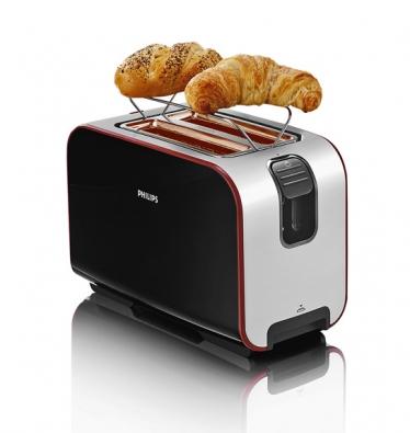 Topinkovač HD 2686 pro přípravu toustů irozpékání pečiva můžete mít vbílém ičerném provedení za cca. 1800Kč (PHILIPS)