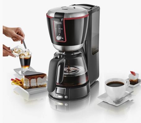 Kávovar HD 7690 je vybaven systémem Drip Stop pro přerušení přípravy překapávané kávy, indikátorem nutnosti odstranění vodního kamene aprogramovatelným časovým spínačem, orientační cena 2200 Kč (PHILIPS)