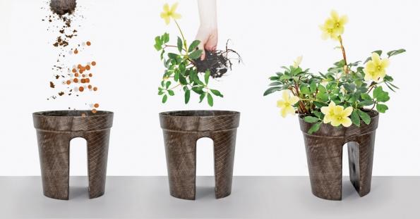 Květináče Cavalier obsahuje malý zásobník na vodu a květiny v něm proto dobře prospívají. Orientační cena 39 EUR (AZ&MUT, Francie)