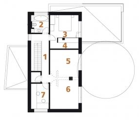 Půdorys patra: 1) hala 2) koupelna + WC 3) ložnice rodičů 4) šatna 5, 6) dětský pokoj 7) pracovna 8) komora 9) terasa.