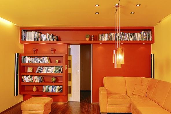Ze sádrokartonu lze vyrobit ivelmi elegantní nábytek například do obývacího pokoje (RIGIPS)