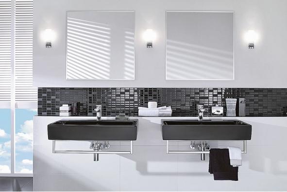 Elegantní umyvadla Memento vtmavé barvě vbílé koupelně opravdu vyniknou (VILLEROY & BOCH)