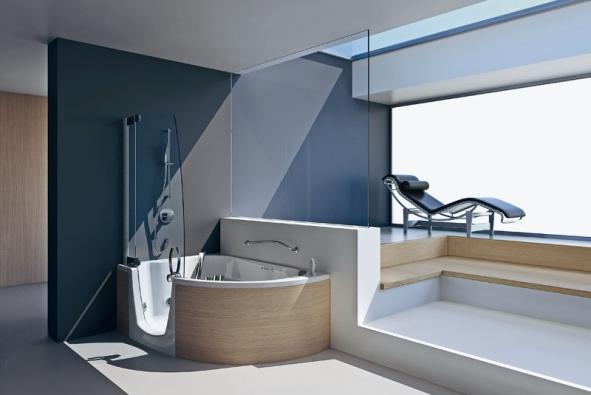 Vana 383 (Teuco) kombinovaná se sprchovou zástěnou, orientační cena bez hydromasážního systému od 170000Kč, cena snehlučným hydromasážním systémem (Hydrosilence) cca. 285600Kč (VYBAVENÍ KOUPELEN)