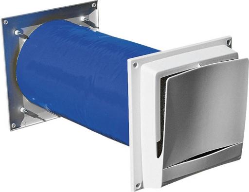 Prvek přivádějící vzduch do obytných místností svyměnitelným prachovým filtrem, potrubím sizolací proti hluku anastavitelným regulátorem množství  vzduchu (NATIVA)