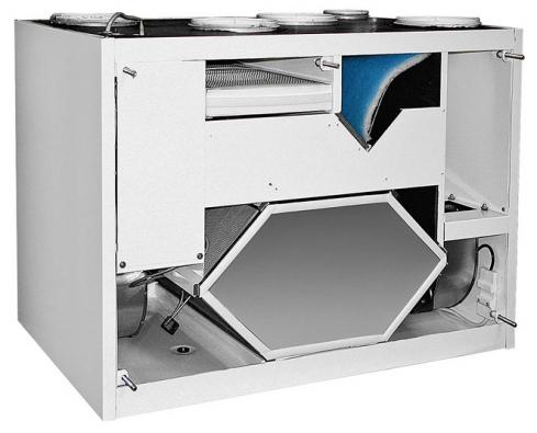 Řez větrací jednotkou ILTO X100 sDC motory pro pohon ventilátorů acirkulačním okruhem (pro obytné plochy do 200 m2) (NATIVA)