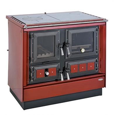 Sporák KVS Moravia 9112 Klaudie charakterizuje vedle funkcí vaření, pečení aohřívání pokrmů především mimořádně velký výkon 10 kW svýhřevností až 150 m3. Výhodou je irozměrné topeniště pro palivové dřevo délky až 450mm aprůměru až 190mm. Vynikající pečicí schopnosti trouby nutně okouzlí každou hospodyňku aprosklená dvířka topeniště každého milovníka živého ohně. Lze volit mezi černou abordó variantou aplotnou zoceli či sklokeramiky. Topí se dřevem či dřevěnými briketami. Cena se pohybuje od 28000Kč.
