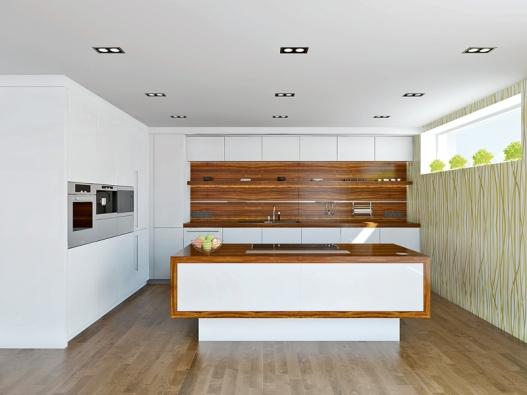 První varianta řešení využívá pro nábytkovou sestavu pouze 2 stěny, stěna soknem zůstává volná.