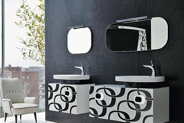 Mimo bathroom, koupelnová kolekce v módní černé a bílé s retro dekorem ve stylu šedesátých let, která si klade minimální nároky na prostor ve vašem domě (LAUFEN).