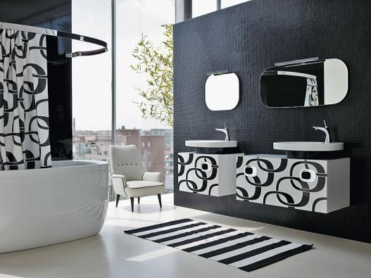 Mimo bathroom, koupelnová kolekce vmódní černé abílé sretro dekorem ve stylu šedesátých let, která si klade minimální nároky na prostor ve vašem domě (LAUFEN).