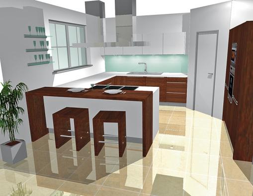 Obklady stěn kuchyně jsou z6–8mm barveného kaleného skla, výroba na zakázku, cena 3 800 Kč za m2 (ATELIER PEDRO).