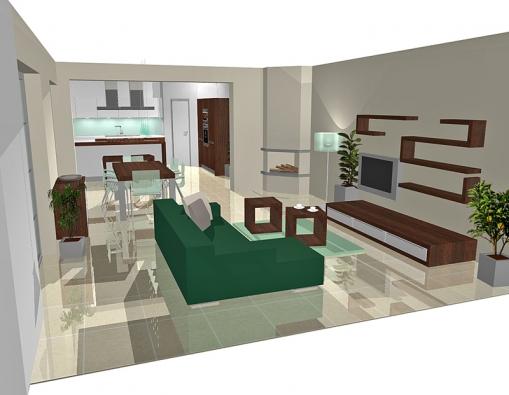 Rohová pohovka spolu sminimálním množstvím nábytku činí zobývací části vzdušnou, odlehčenou místnost.