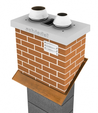 Součástí stavebnicového komínového systému je také prefabrikovaná nadstřešní část (SCHIEDEL).