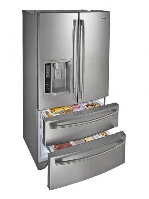 Chladnička se zásuvkovoumrazničkou ve spodní části  GR-L21AUSJJ, snadný přístup do chladničky, přehledný interiér se zapuštěnými LED diodami, automat na vodu sledem, symetricky tvarované dveře, novinka, cena ještě nebyla stanovena (LG).