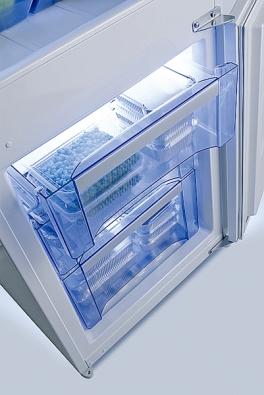 Prostorný mrazák bývá umístěn vdolní části přístroje (GORENJE).