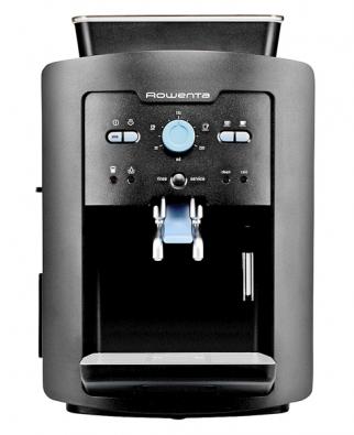 Espresso ES6805RU, kompaktní plnoautomat stryskou na mléko, mlýnkem snastavitelnou hrubostí mletí kávových zrn, tlakem 15 barů, tlačítkem pro volbu síly kávy aploténkou  na předehřátí šálků, cena 15990Kč (ROWENTA).