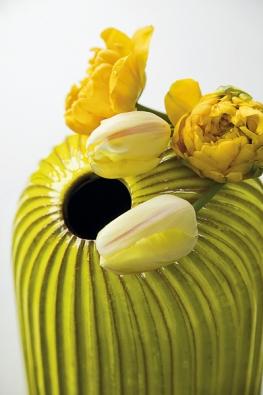 Aranžmá ozvláštňuje přírodní tvar vázy v dalším odstínu žluté (Tulipa)