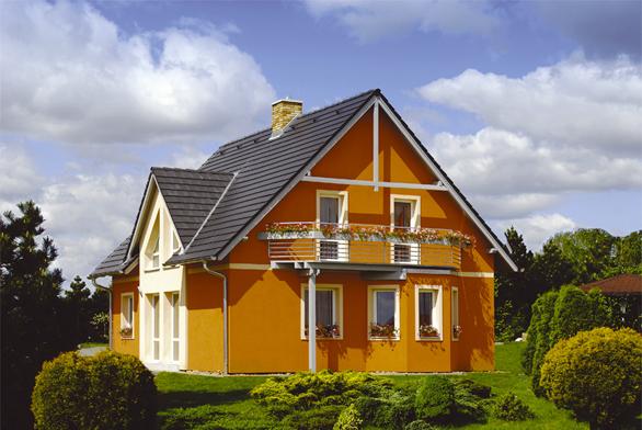 Ilustrační fotografie rodinného domu Classic, který využívá stejně jako dům Chico konstrukční systém Ecobeton Canaba.