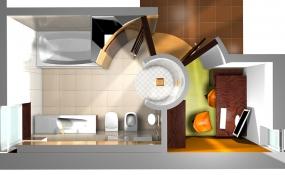 Půdorys pracovny vtěsném sousedství skoupelnou, kjejímuž vybavení náleží WC, bidet ipisoár zdůrazňující praktickou, ale především hygienickou stránku moderního bydlení.