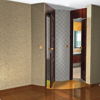 Důmyslně řešený vchod do obou místností využívá zaobleného tvaru sprchového koutu.