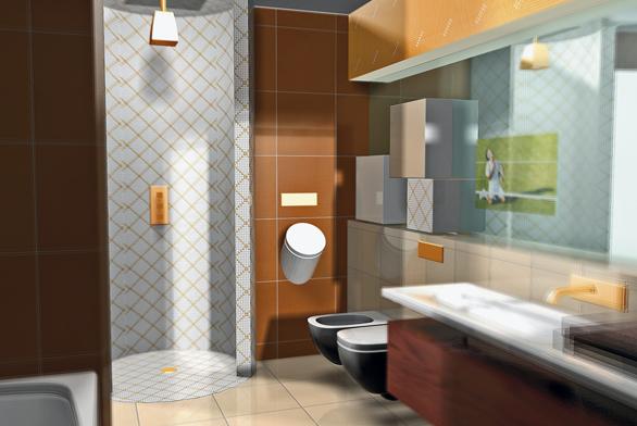 Koupelna je vybavena sanitární keramikou série Palomba od výrobce LAUFEN, zlaté vodovodní baterie Gessi korespondují se zlatou linkou mozaiky Tetris (RAKO).