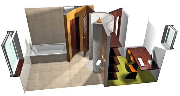 Interiér místností dotváří drobná mozaika Tetris vbílém aoranžovém provedení, doplněná velkoplošnými obklady adlaždicemi kolekce Spirit ve třech odstínech teplých barevných tónů srozměry 45 x 45cm,  jež umocní stylový kontrast velkého amalého formátu, cena 713 Kč/m2 (RAKO).