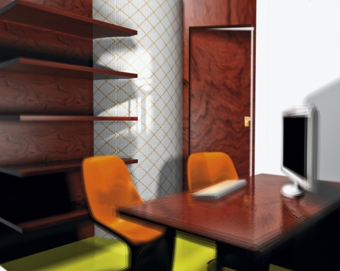 Oblouk vpracovně ikoupelně je obložen dekorativní mikromozaikou Tetris vrozměru 1 x 1cm (na síti 30 x 30 cm), cena za set 499Kč (RAKO).