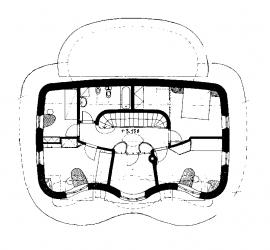 Podkroví: 1) chodba 2) hala 3) dětský pokoj 4) ložnice 5) šatna 6) koupelna 7) pokoj 8) dětský pokoj.