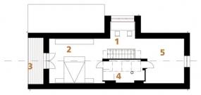 Půdorys podkroví: 1) hala + pracovna 2) ložnice 3) lodžie 4) koupelna 5) pokoj.