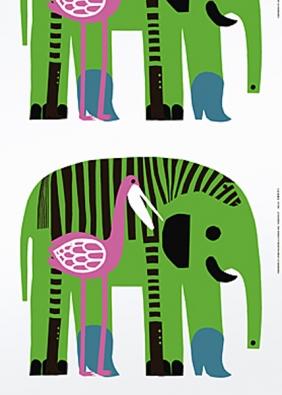 Látky Marimekko, šíře 140 cm: Karkuteillä (slon), Kanteleen Kutsu, Iso Satakie- li, Karkulaiset (malí sloni) (DESIGNOR).