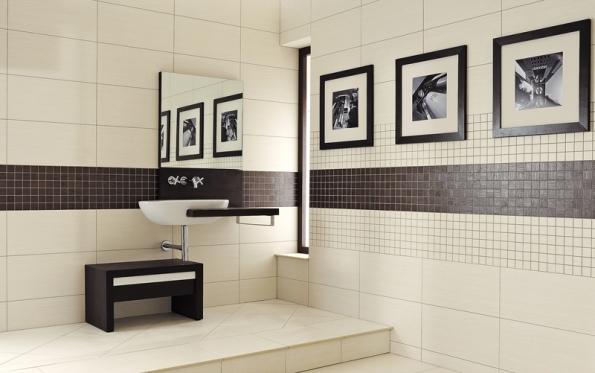 Defile, kontrast velkého formátu smozaikou, metalický povrch dodá interiéru švih (RAKO).