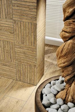 Noe, imitace dřeva adřevěné mozaiky spřednostmi keramického materiálu (RAKO).