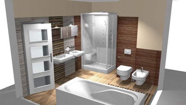 Eleganci koupelny podtrhuje bělostná sanitární keramika, odrážející se od tmavých strukturovaných povrchů.