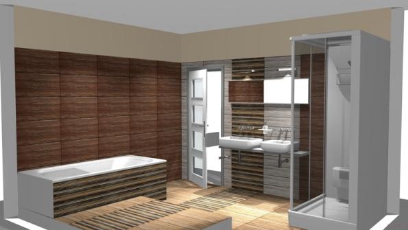 Dispozice do L napomohla rozdělení koupelny na umyvadlovou zónu, vanovou část a sprchový kout vnice. Tmavě obložené stěny se odrážejí od světlejší podlahy, takže místnost působí prostorně.