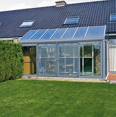 Zimní zahrada je významný zdroj tepla, který využívá pasivního solárního efektu (REYNAERS).