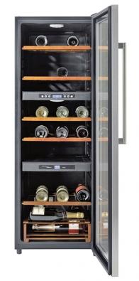 Vinotéka KF 24WA41 antiBacteria, kapacita 63 lahví, možnost regulace teploty 6−14 °C, cena 50600Kč (SIEMENS).