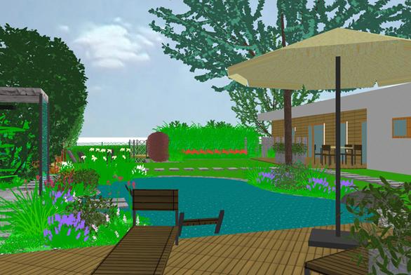 Pohled zodpočinkové terasy vrohu zahrady.