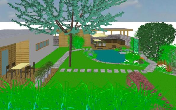 Celkový pohled nahorní řešení zahrady skoupacím jezírkem asprchou.