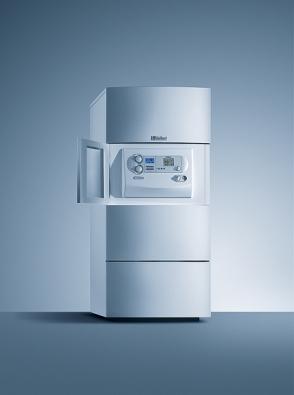 Stacionární kondenzační kotel ecoCompact (Vaillant) se zásobníkem svrstveným ukládáním užitkové vody. Výkon kotle je 21, resp. 27 kW.