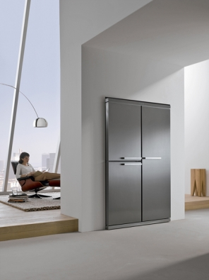 Side-by-Side, vestavná nerezová chladnička smrazničkou KFNS 3927 SDE, celkový objem 647l, zóna perfectFresh, elektronická regulace teploty, superchlazení asupermrazení, noFrost, cena 177990Kč (MIELE).