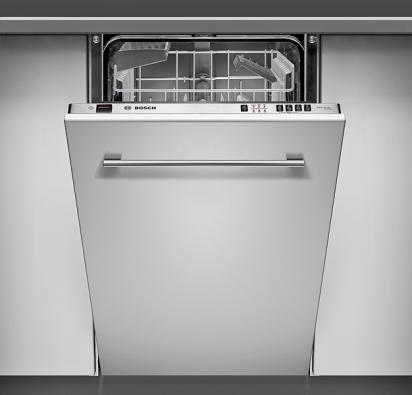Plně vestavná myčka Bosch SRV 43M03EU pro 9 jídelních souprav, šíře 45cm, 4 mycí programy včetně rychlého aEco, cena 18900Kč (BOSCH).