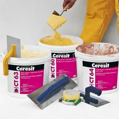 Výrobky Ceresit jsou určeny ke zhotovování tenkovrstvých dekorativních omítek. Můžete si vybrat  z více než 200 barevných odstínů (Henkel).