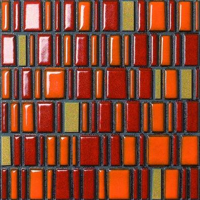 Keramická mozaika Le Murrine  Gold (Settecento) kombinující několik odstínů červené se zlatou barvou, cena 2626 Kč/m2  (DOLEJŠ − OBKLADY ADLAŽBY).