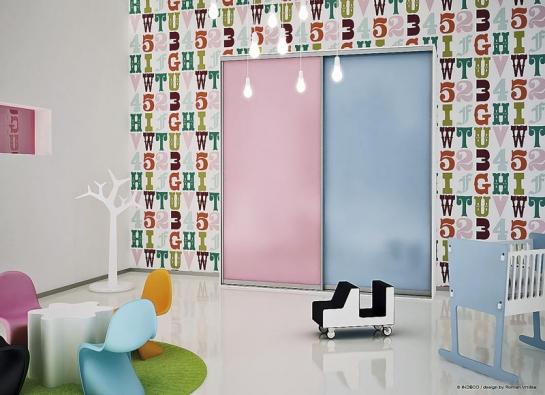 Pro dětský pokoj se hodí příjemné hravé barvy, dvířka všíři 80cm zkolekce Man´s view vkombinaci materiálů Lamino Caprice aModrá horizont zdílny mladého designéra Romana Vrtišky, cena 7082Kč (INDECO).