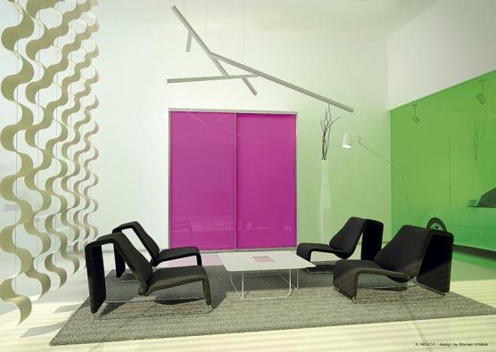 Návrh obývacího pokoje svestavnou skříní vnetradičním barevném provedení – rám zhliníku, výplň dveří všíři 80cm Lacobel.